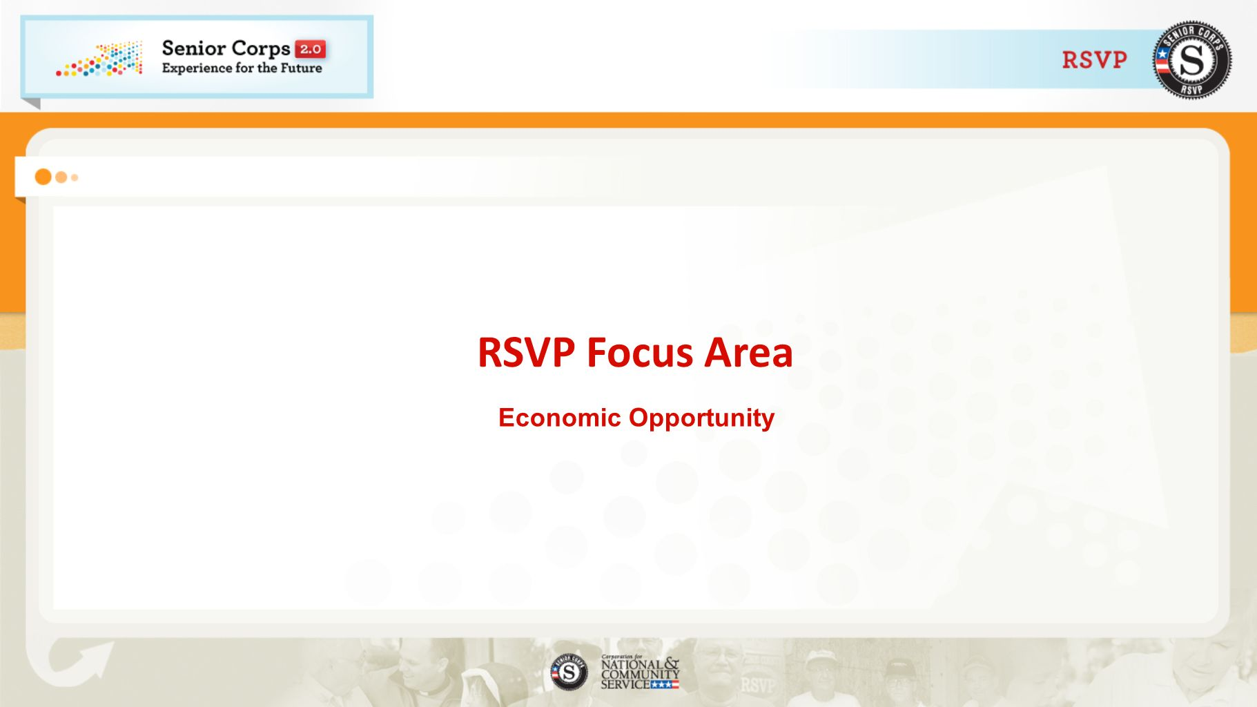 RSVP Focus Area Economic Opportunity