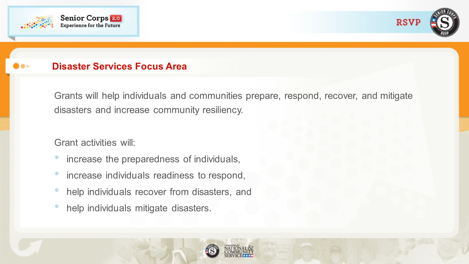 Disaster Services Focus Area Grants will help individuals and communities prepare, respond, recover, and mitigate disasters and increase community resiliency.