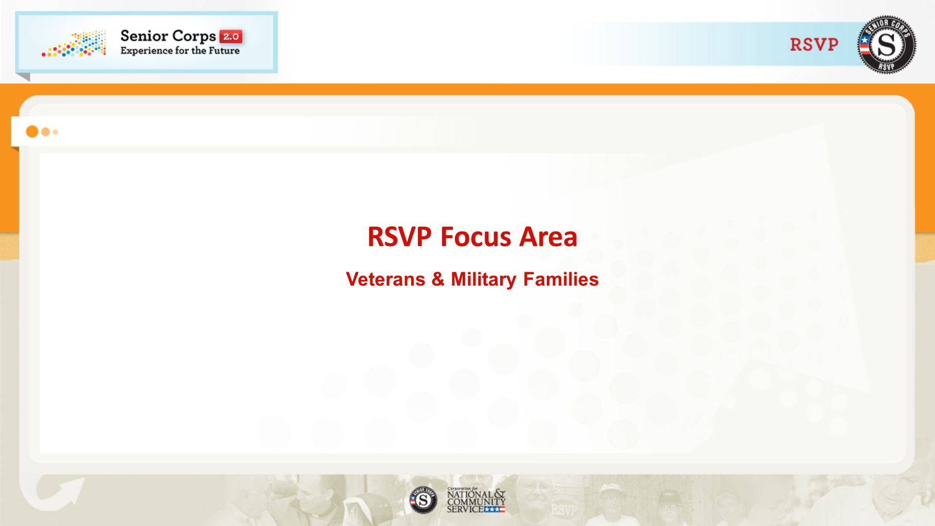 RSVP Focus Area Veterans & Military Families