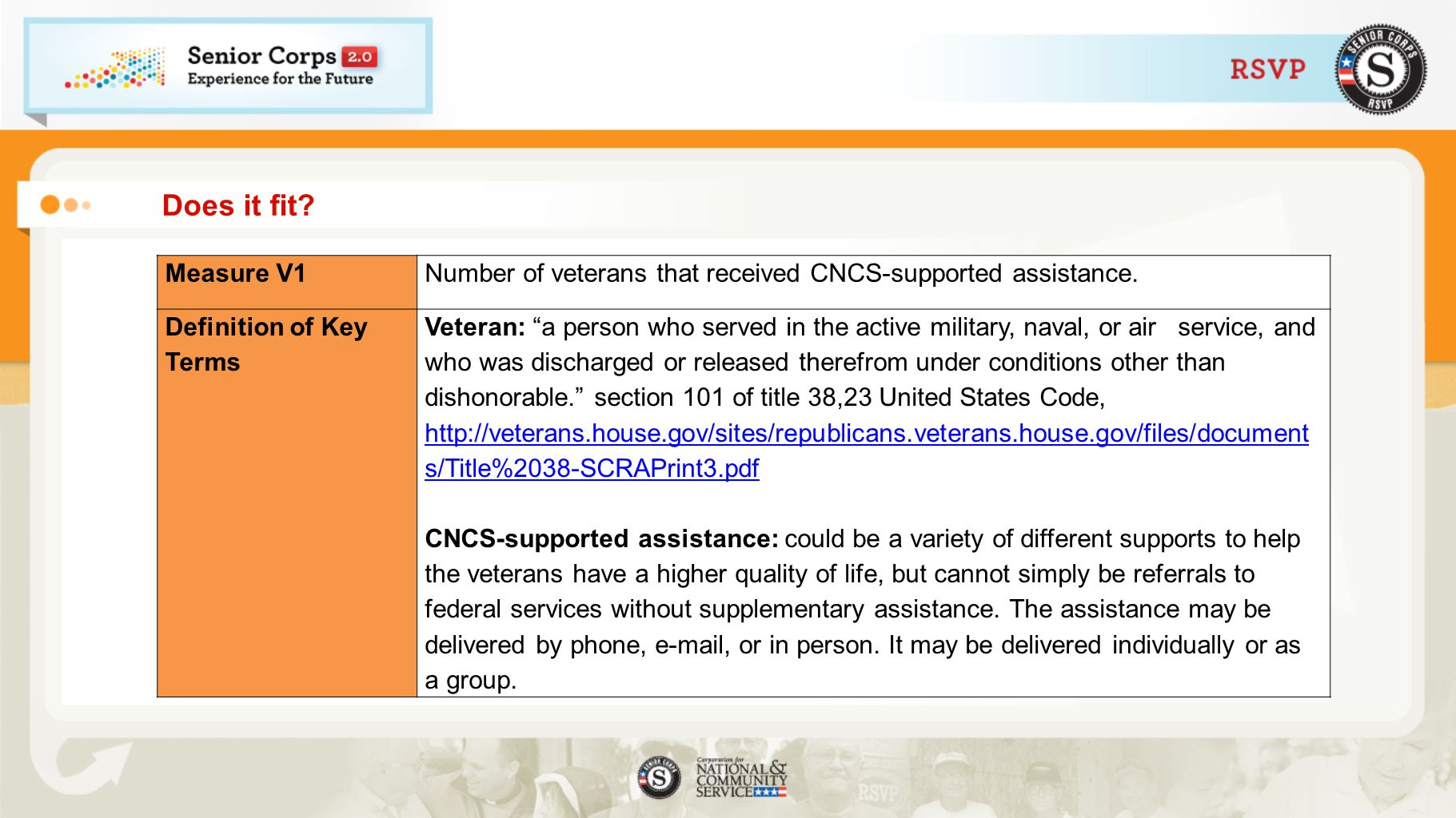 Does it fit. Measure V1Number of veterans that received CNCS-supported assistance.