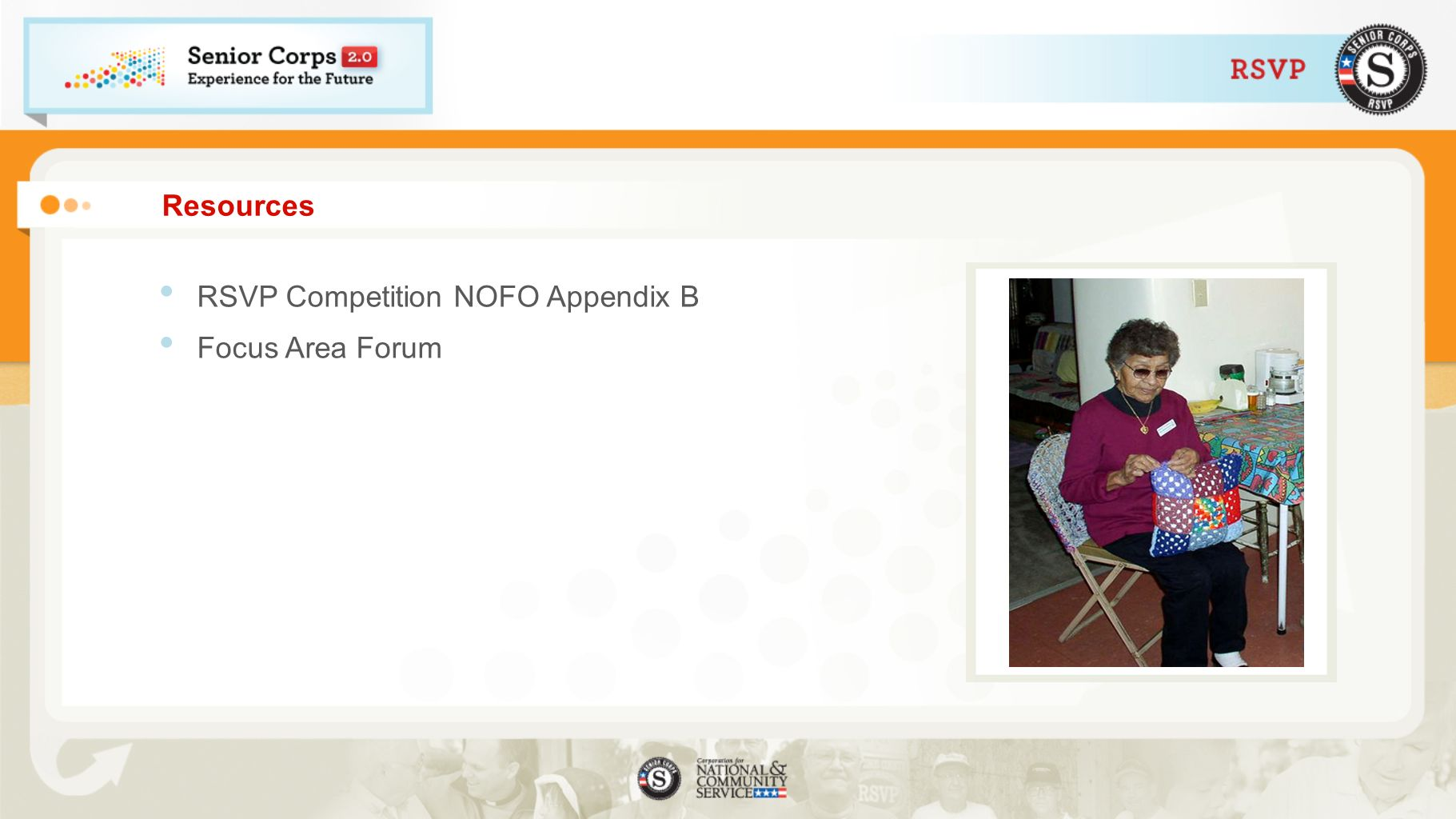 Resources RSVP Competition NOFO Appendix B Focus Area Forum