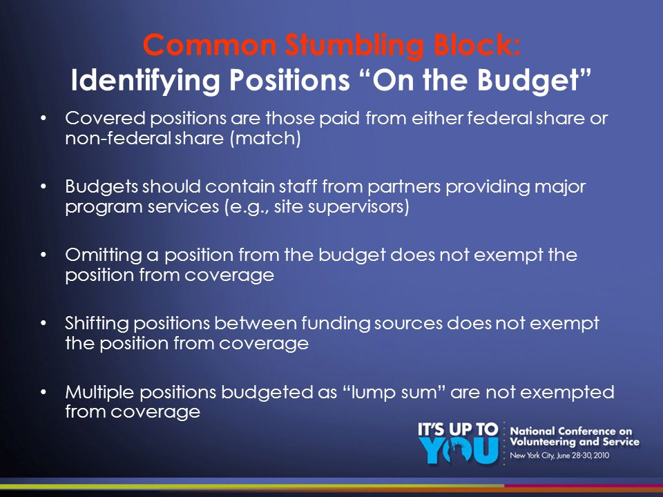 Common Stumbling Block: Identifying Positions On the Budget Covered positions are those paid from either federal share or non-federal share (match) Bu
