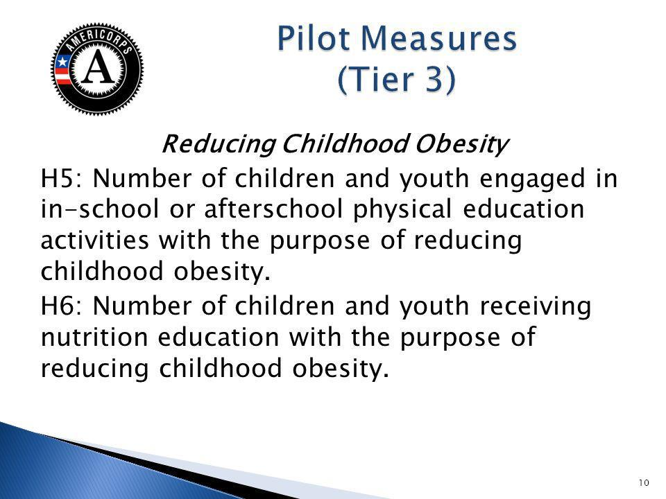 Reducing Childhood Obesity H5: Number of children and youth engaged in in-school or afterschool physical education activities with the purpose of reducing childhood obesity.
