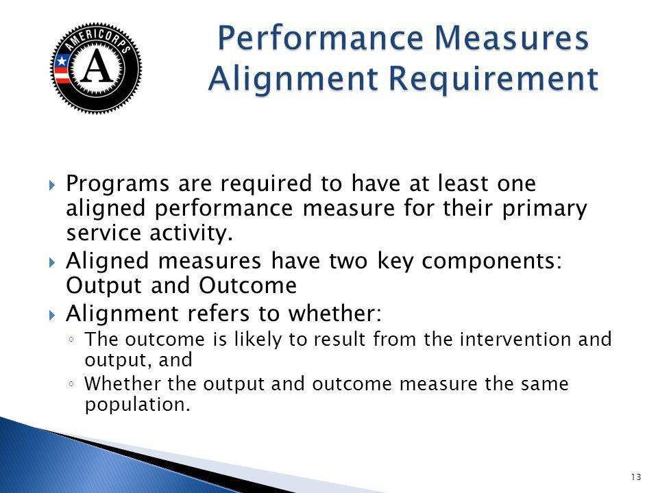 Programs are required to have at least one aligned performance measure for their primary service activity.