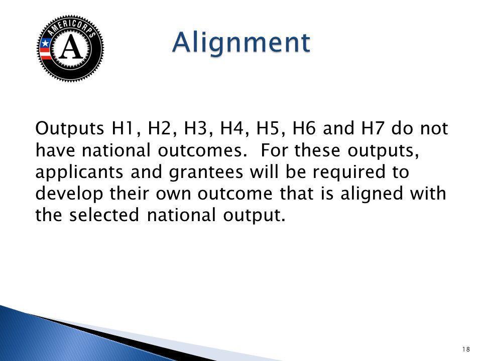 Outputs H1, H2, H3, H4, H5, H6 and H7 do not have national outcomes.