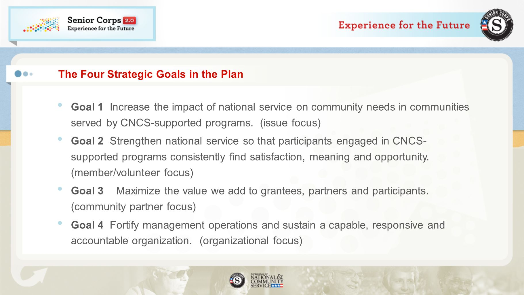 From Strategic Plan to Performance Measures We collected input and considered: Which measures enable us to tell the best story about the impact of national service Where we have the most confidence about measureable impact Where our grantees and sponsors do most of their work 42 Priority Measures in the 2011-2015 Strategic Plan as a result of dozens of community meetings and public comments Focused Subset of 16 Agency- Wide Priority Measures Across our 4 Strategic Goals and 6 Focus Areas