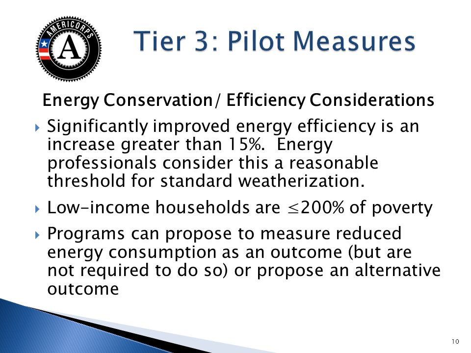 Energy Conservation/ Efficiency Considerations Significantly improved energy efficiency is an increase greater than 15%.
