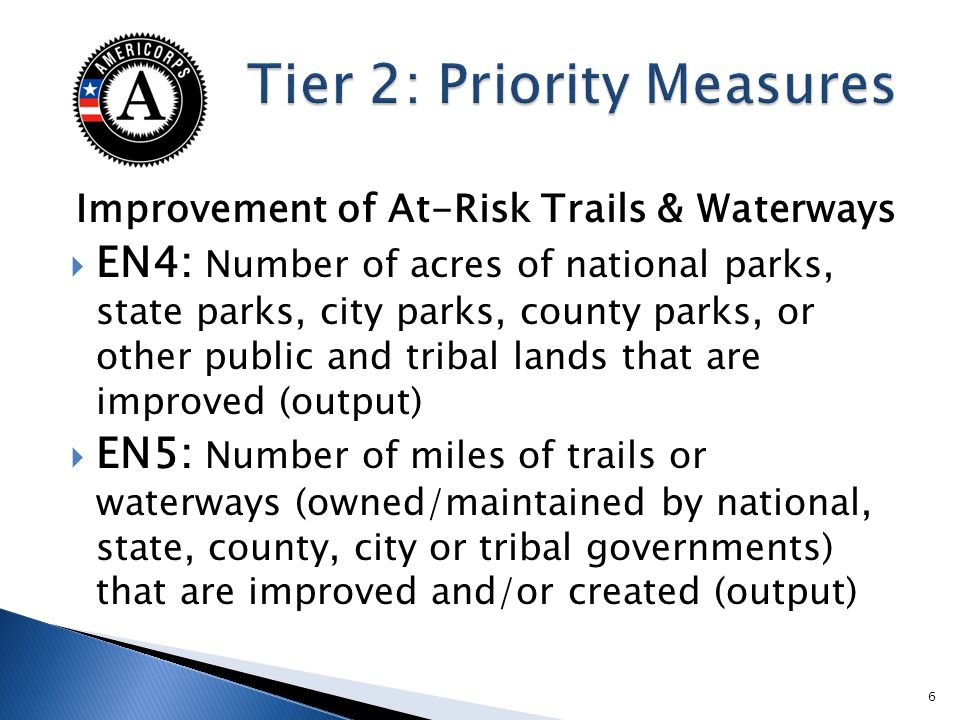 Improvement of At-Risk Trails & Waterways EN4: Number of acres of national parks, state parks, city parks, county parks, or other public and tribal la