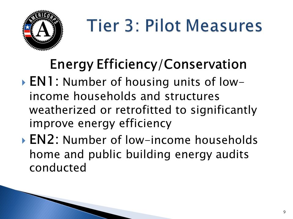 Energy Efficiency/Conservation EN1: Number of housing units of low- income households and structures weatherized or retrofitted to significantly impro