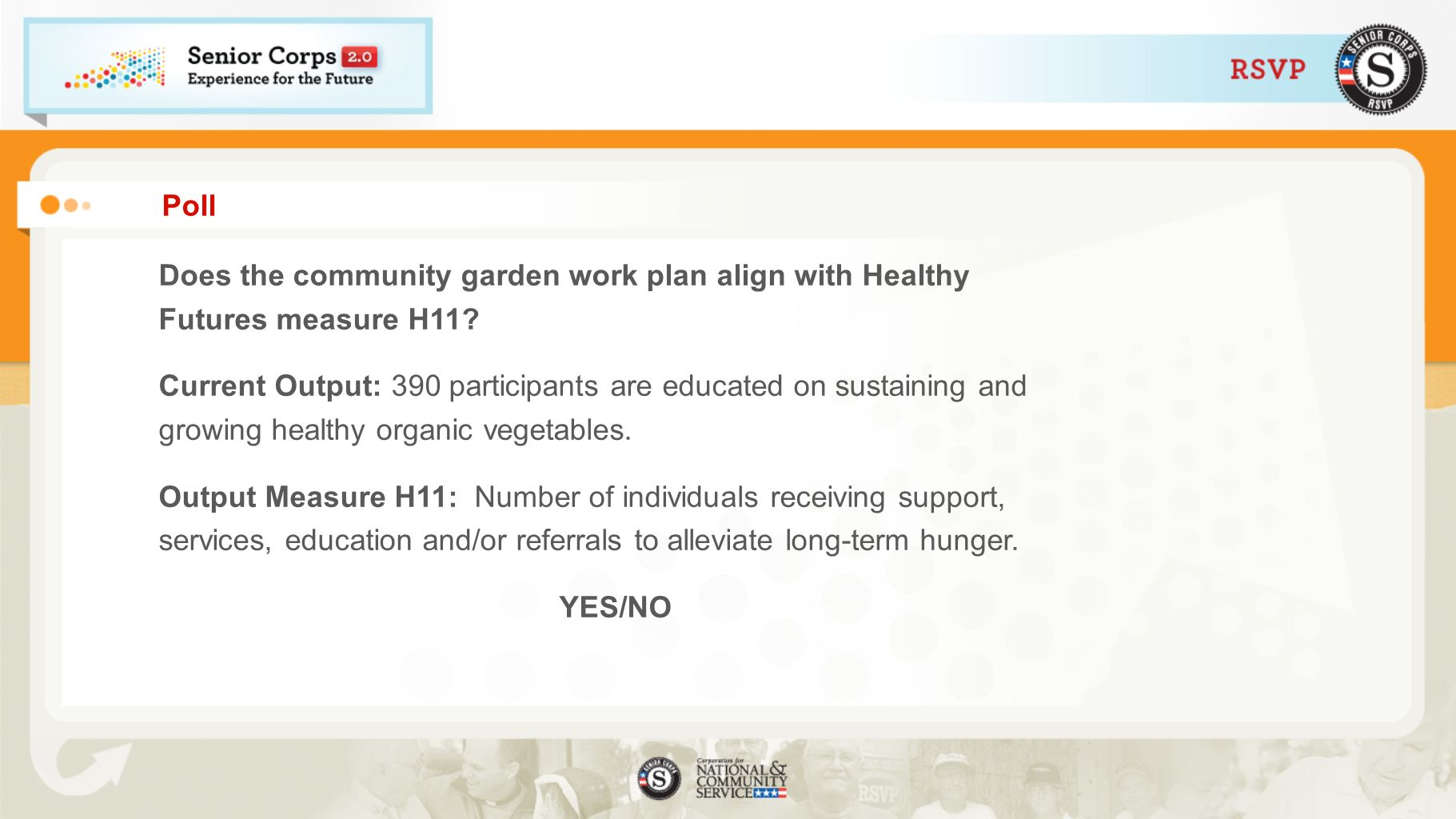 Poll Does the community garden work plan align with Healthy Futures measure H11? Current Output: 390 participants are educated on sustaining and growi