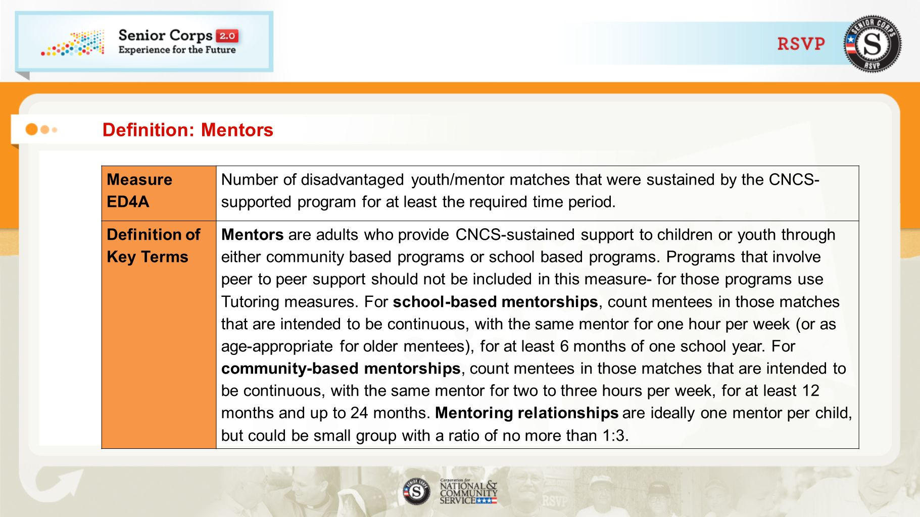 Definition: Mentors Measure ED4A Number of disadvantaged youth/mentor matches that were sustained by the CNCS- supported program for at least the requ