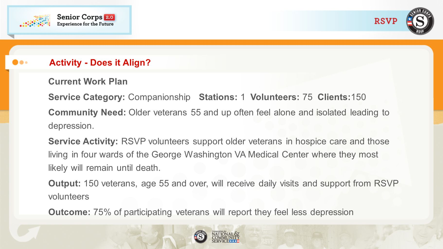 Activity - Does it Align? Current Work Plan Service Category: Companionship Stations: 1 Volunteers: 75 Clients:150 Community Need: Older veterans 55 a