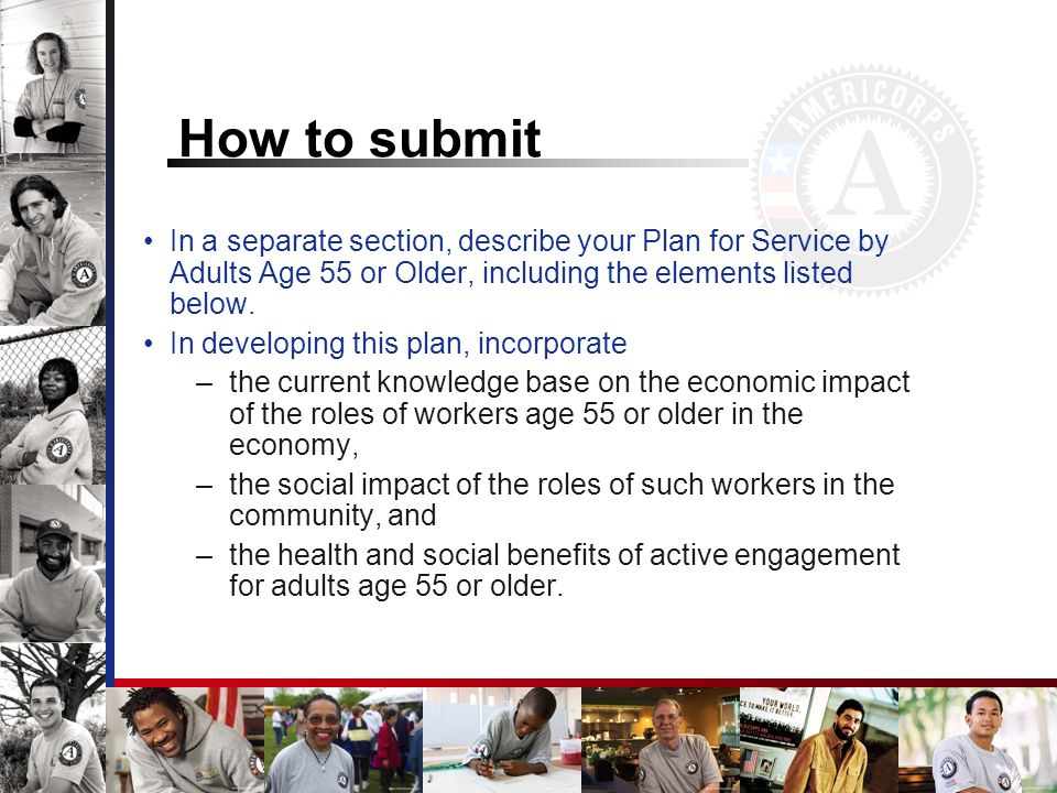 How to submit In a separate section, describe your Plan for Service by Adults Age 55 or Older, including the elements listed below.