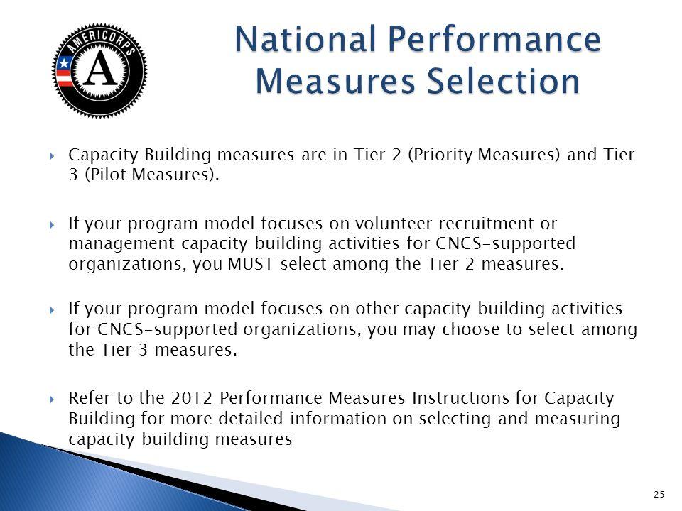 Capacity Building measures are in Tier 2 (Priority Measures) and Tier 3 (Pilot Measures).