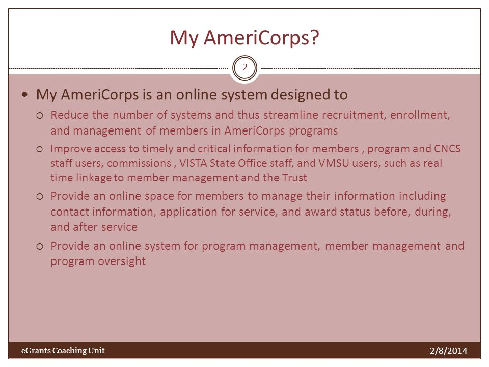 Who does what on My AmeriCorps.
