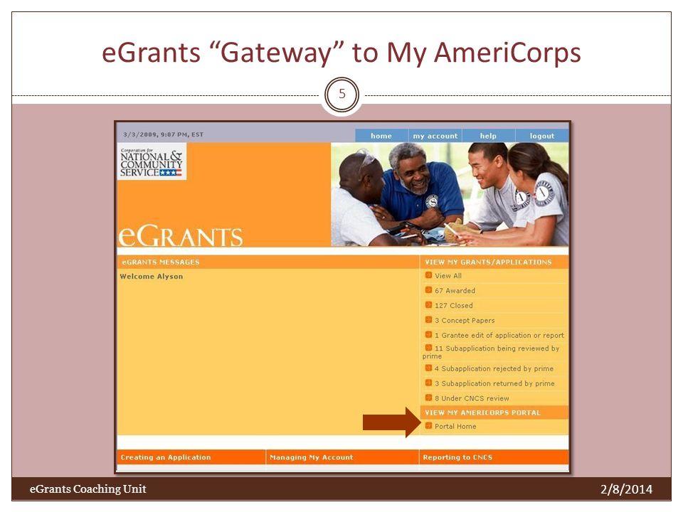 eGrants Gateway to My AmeriCorps 2/8/2014 eGrants Coaching Unit 5