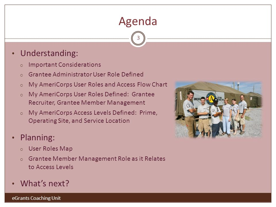 Agenda Understanding: o Important Considerations o Grantee Administrator User Role Defined o My AmeriCorps User Roles and Access Flow Chart o My AmeriCorps User Roles Defined: Grantee Recruiter, Grantee Member Management o My AmeriCorps Access Levels Defined: Prime, Operating Site, and Service Location Planning: o User Roles Map o Grantee Member Management Role as it Relates to Access Levels Whats next.