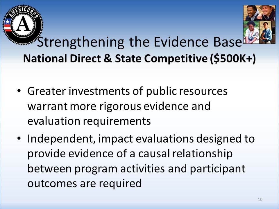 Strengthening the Evidence Base National Direct & State Competitive ($500K+) Greater investments of public resources warrant more rigorous evidence and evaluation requirements Independent, impact evaluations designed to provide evidence of a causal relationship between program activities and participant outcomes are required 10