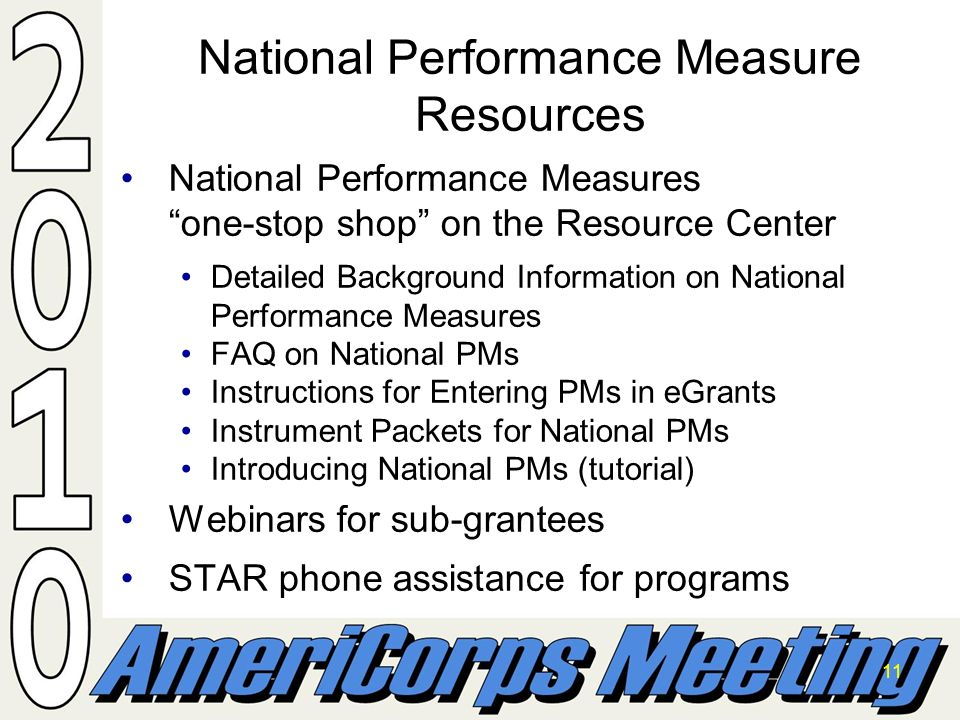 11 National Performance Measure Resources National Performance Measures one-stop shop on the Resource CenterNational Performance Measures one-stop shop on the Resource Center Detailed Background Information on National Performance MeasuresDetailed Background Information on National Performance Measures FAQ on National PMsFAQ on National PMs Instructions for Entering PMs in eGrantsInstructions for Entering PMs in eGrants Instrument Packets for National PMsInstrument Packets for National PMs Introducing National PMs (tutorial)Introducing National PMs (tutorial) Webinars for sub-granteesWebinars for sub-grantees STAR phone assistance for programsSTAR phone assistance for programs