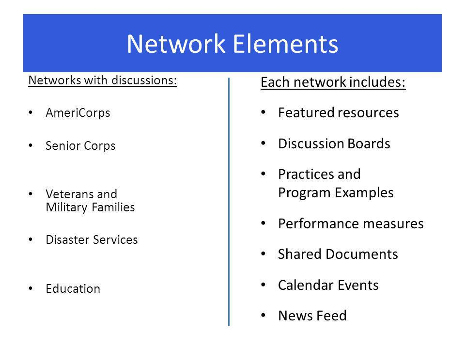 Network Elements Networks with discussions: AmeriCorps Senior Corps Veterans and Military Families Disaster Services Education Each network includes: Featured resources Discussion Boards Practices and Program Examples Performance measures Shared Documents Calendar Events News Feed