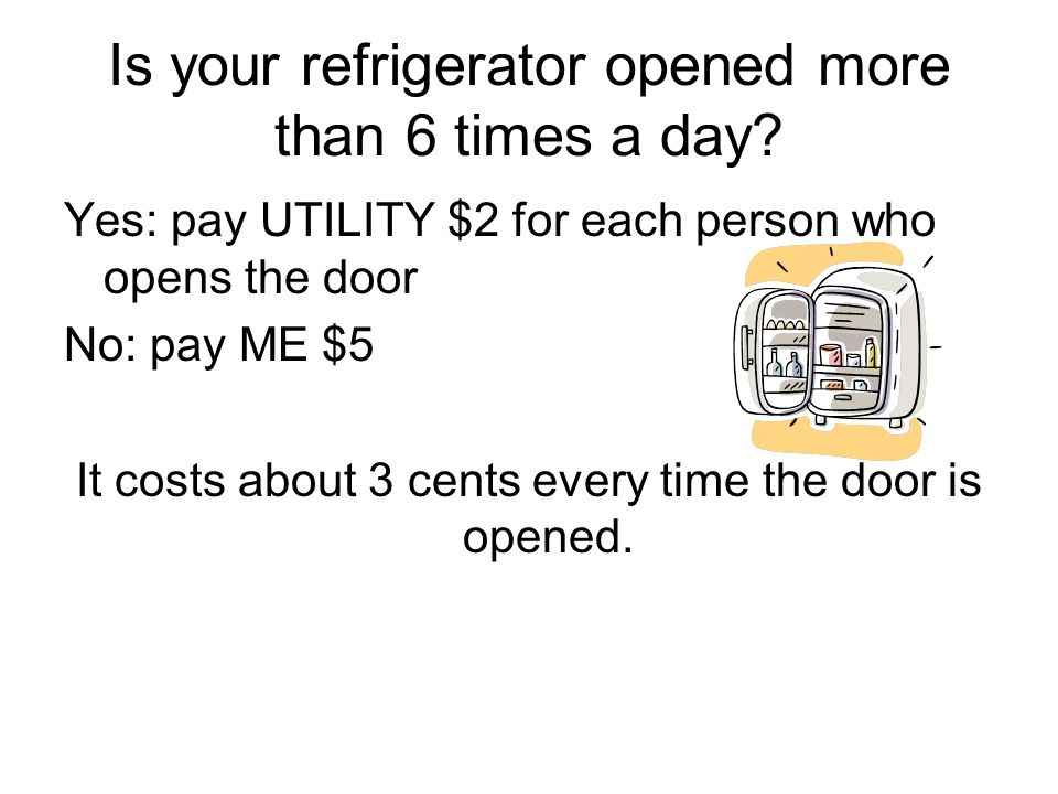 Is your refrigerator opened more than 6 times a day? Yes: pay UTILITY $2 for each person who opens the door No: pay ME $5 It costs about 3 cents every