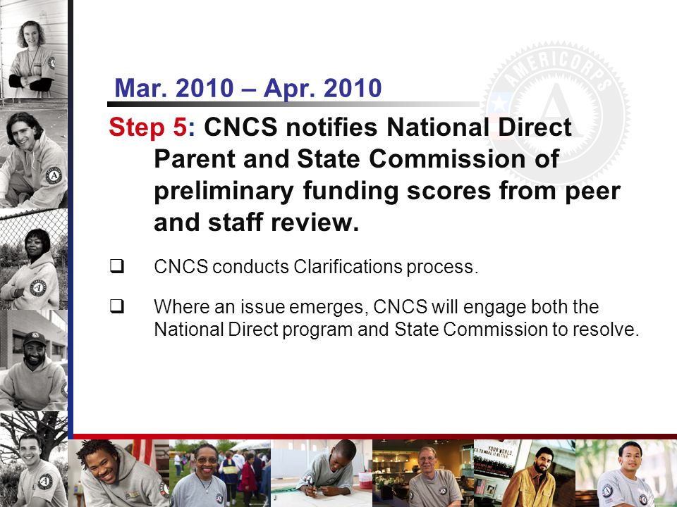 Mar. 2010 – Apr. 2010 Step 5: CNCS notifies National Direct Parent and State Commission of preliminary funding scores from peer and staff review. CNCS