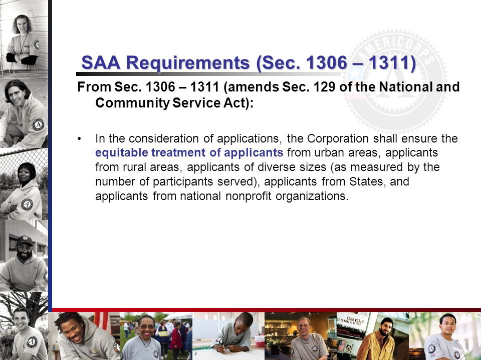 SAA Requirements (Sec. 1306 – 1311) From Sec. 1306 – 1311 (amends Sec.