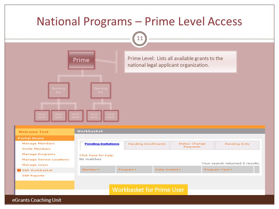 National Programs – Prime Level Access Prime Operating Site Service Location Workbasket for Prime User Prime Level: Lists all available grants to the national legal applicant organization.