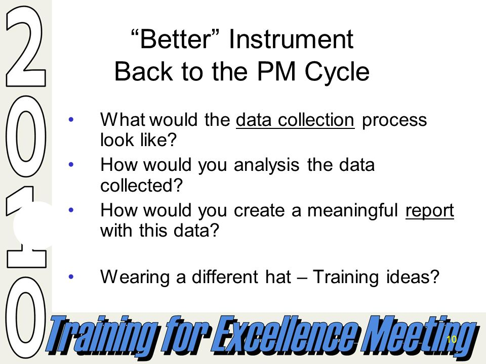 10 Better Instrument Back to the PM Cycle What would the data collection process look like.
