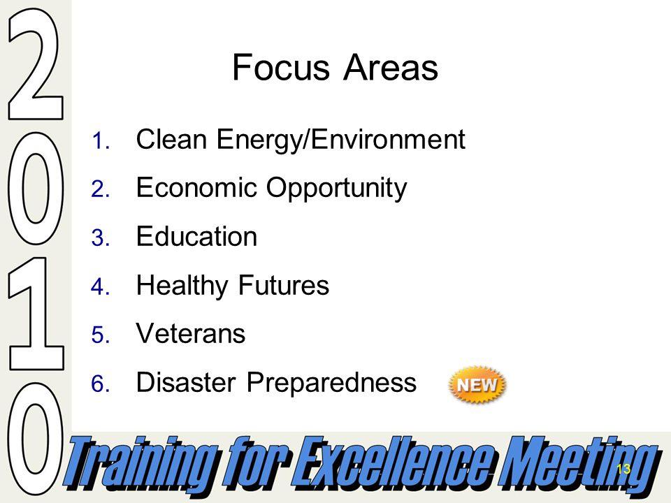 13 1. Clean Energy/Environment 2. Economic Opportunity 3. Education 4. Healthy Futures 5. Veterans 6. Disaster Preparedness Focus Areas