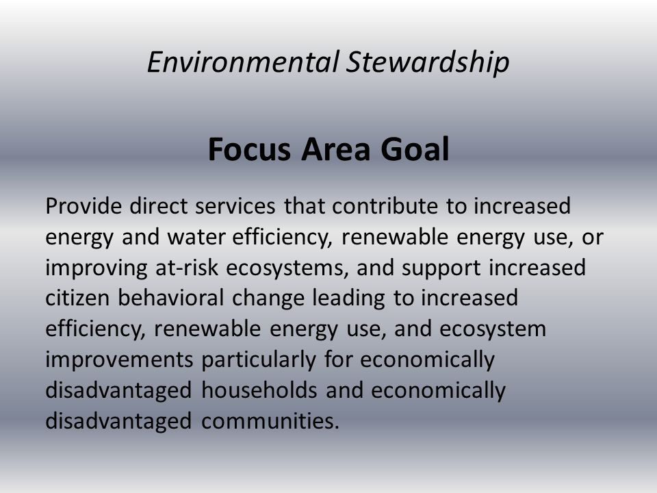 Focus Area Goal Provide direct services that contribute to increased energy and water efficiency, renewable energy use, or improving at-risk ecosystem