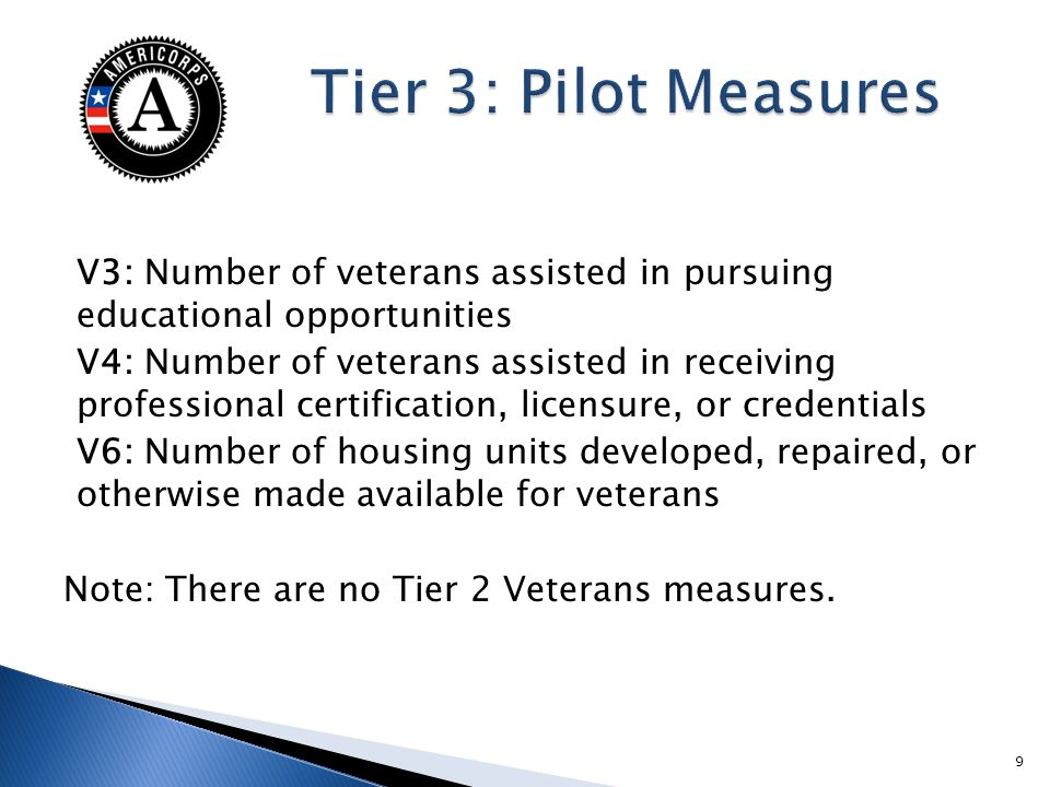 V3: Number of veterans assisted in pursuing educational opportunities V4: Number of veterans assisted in receiving professional certification, licensure, or credentials V6: Number of housing units developed, repaired, or otherwise made available for veterans Note: There are no Tier 2 Veterans measures.