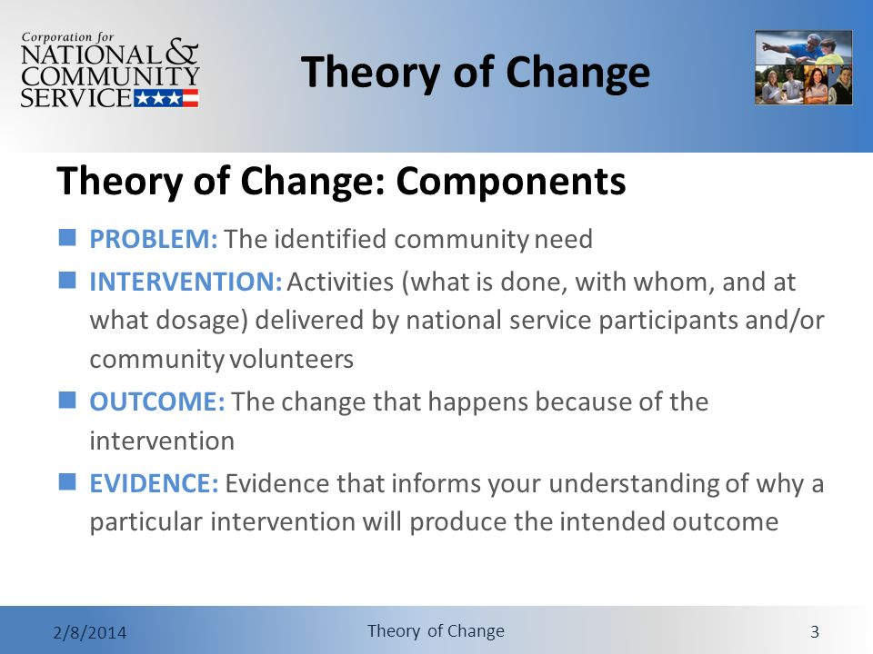 Theory of Change 2/8/2014 Theory of Change 4 An Example From Everyday Life I have strep throat (PROBLEM).