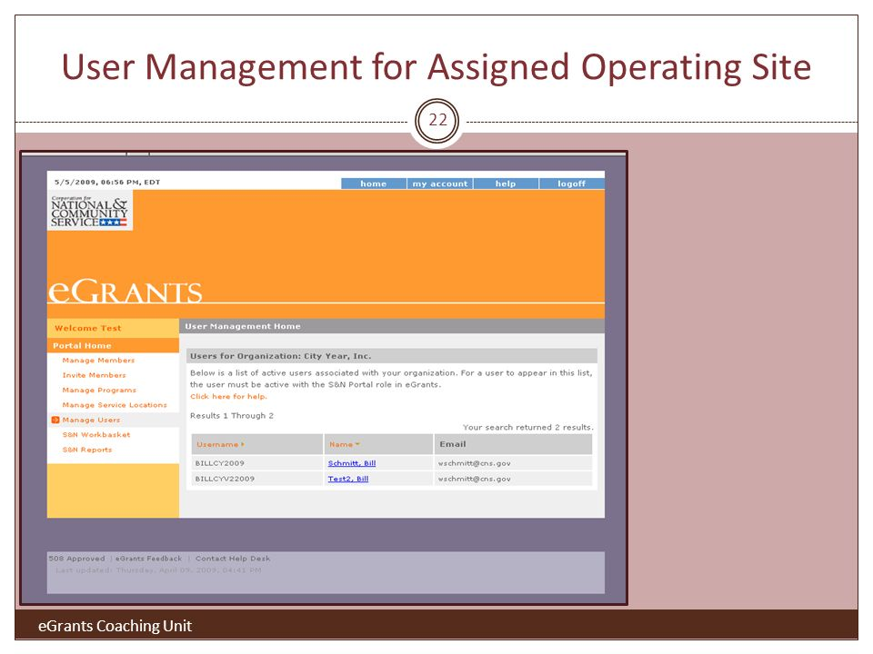 User Management for Assigned Operating Site 22 eGrants Coaching Unit