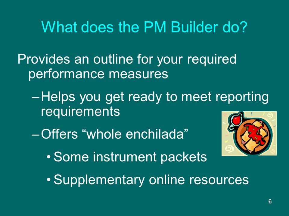 6 What does the PM Builder do.