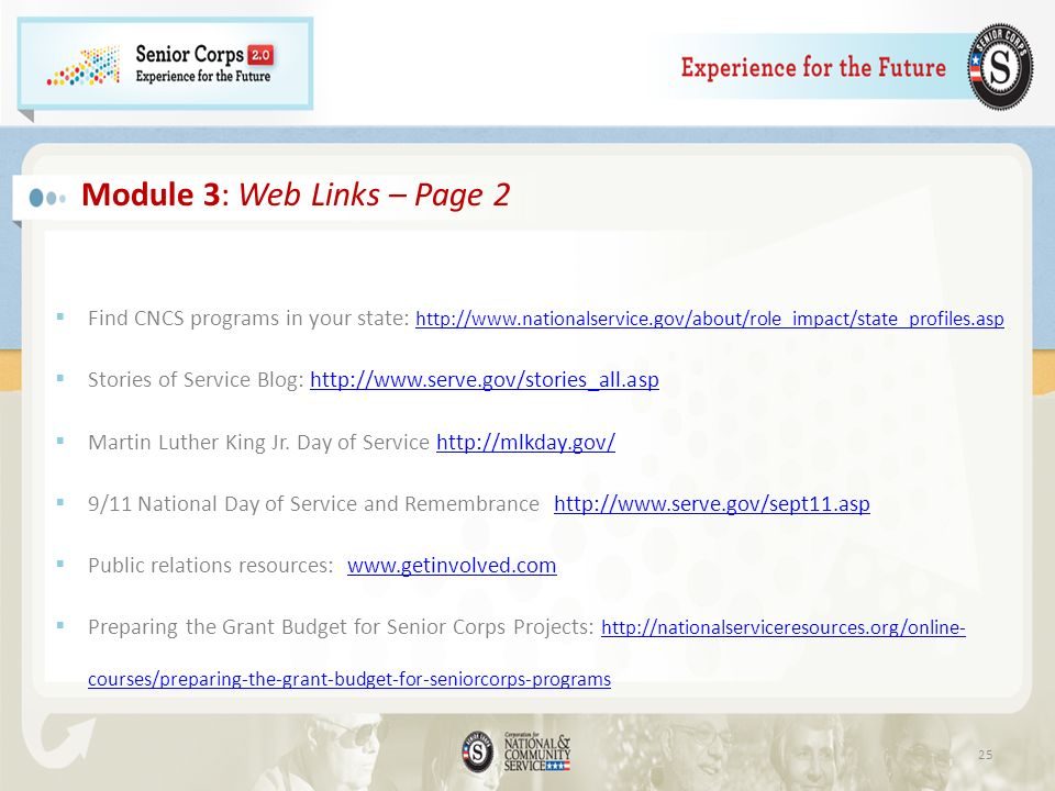 Module 3: Web Links – Page 2 Find CNCS programs in your state: http://www.nationalservice.gov/about/role_impact/state_profiles.asp http://www.nationalservice.gov/about/role_impact/state_profiles.asp Stories of Service Blog: http://www.serve.gov/stories_all.asphttp://www.serve.gov/stories_all.asp Martin Luther King Jr.