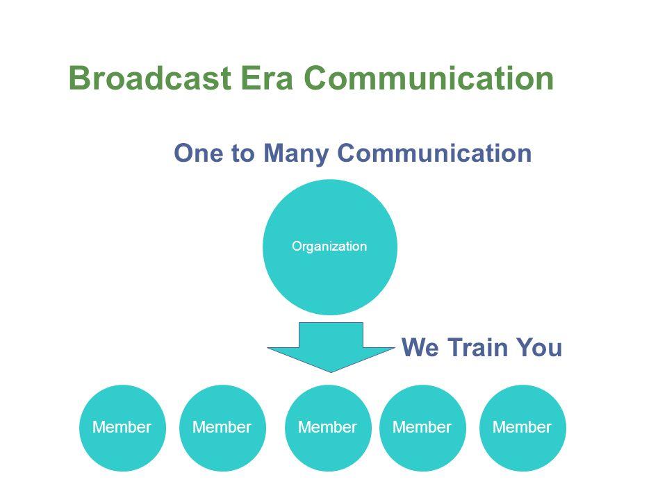 Broadcast Era Communication Organization Member One to Many Communication We Train You