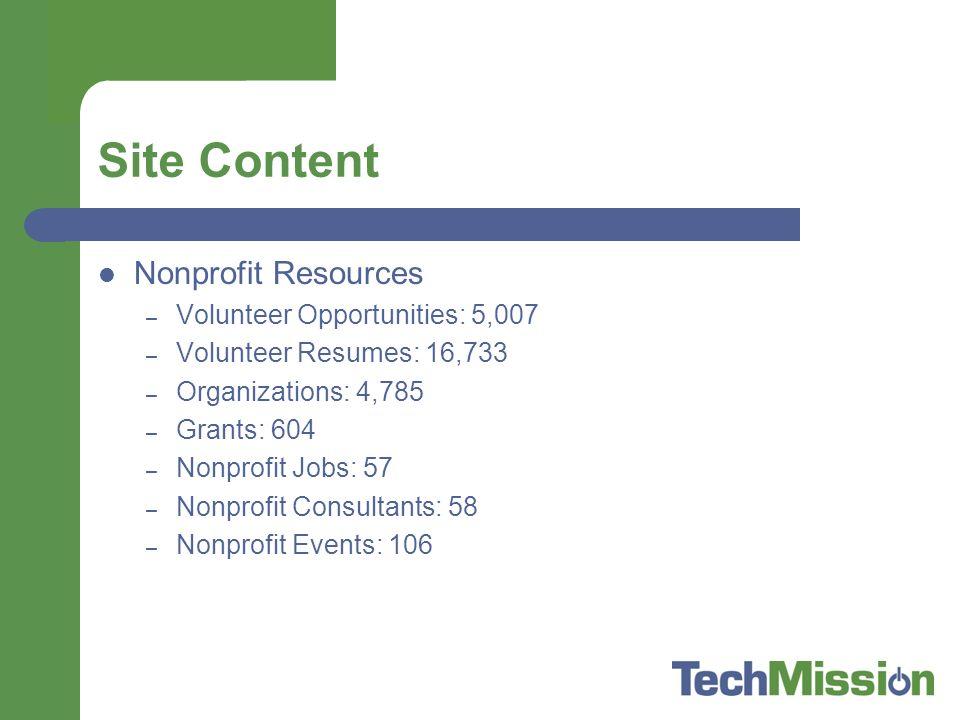 Site Content Nonprofit Resources – Volunteer Opportunities: 5,007 – Volunteer Resumes: 16,733 – Organizations: 4,785 – Grants: 604 – Nonprofit Jobs: 57 – Nonprofit Consultants: 58 – Nonprofit Events: 106