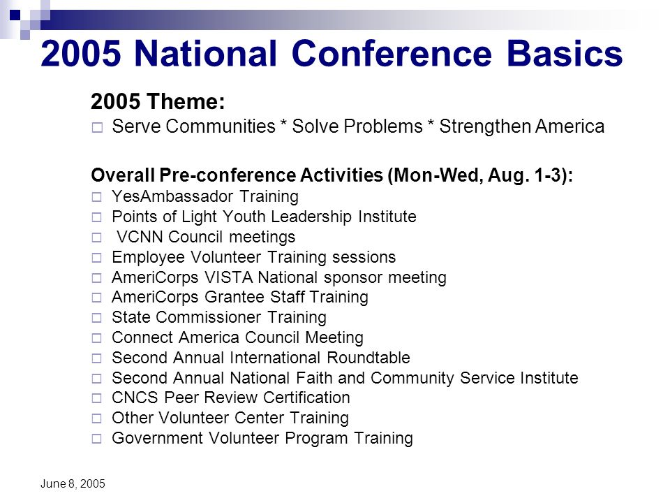 June 8, 2005 2005 National Conference Basics 2005 Theme: Serve Communities * Solve Problems * Strengthen America Overall Pre-conference Activities (Mon-Wed, Aug.