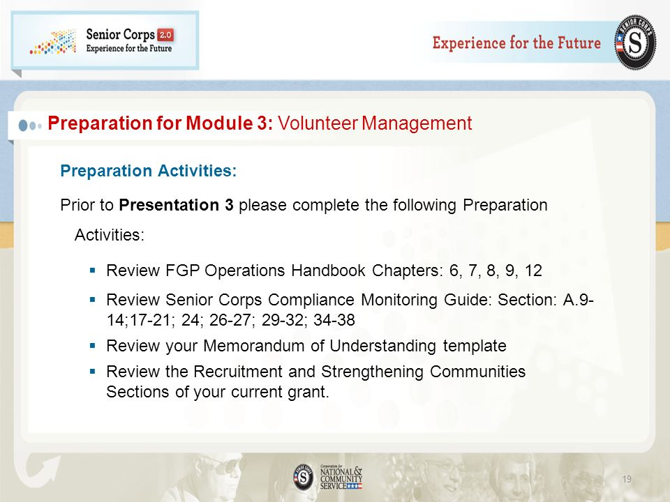 Preparation Activities: Prior to Presentation 3 please complete the following Preparation Activities: Review FGP Operations Handbook Chapters: 6, 7, 8