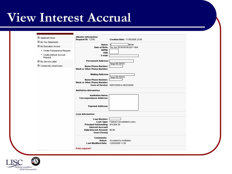 View Interest Accrual