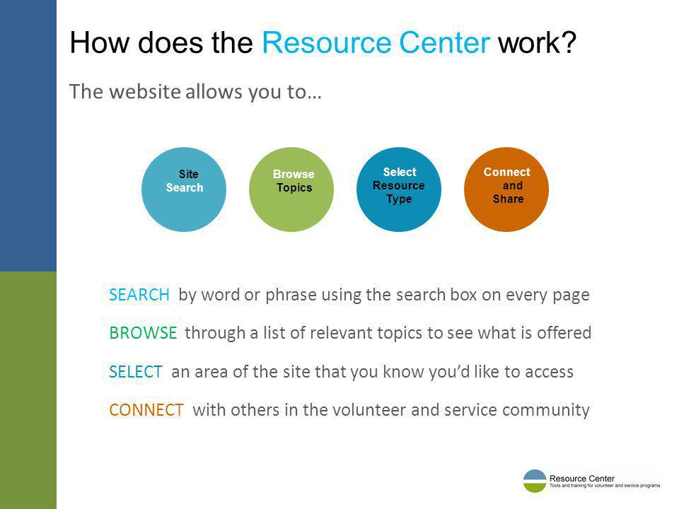 How does the Resource Center work? SEARCH by word or phrase using the search box on every page BROWSE through a list of relevant topics to see what is