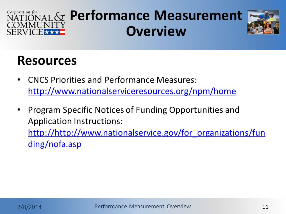Performance Measurement Overview 2/8/2014 Performance Measurement Overview 11 Resources CNCS Priorities and Performance Measures: http://www.nationals
