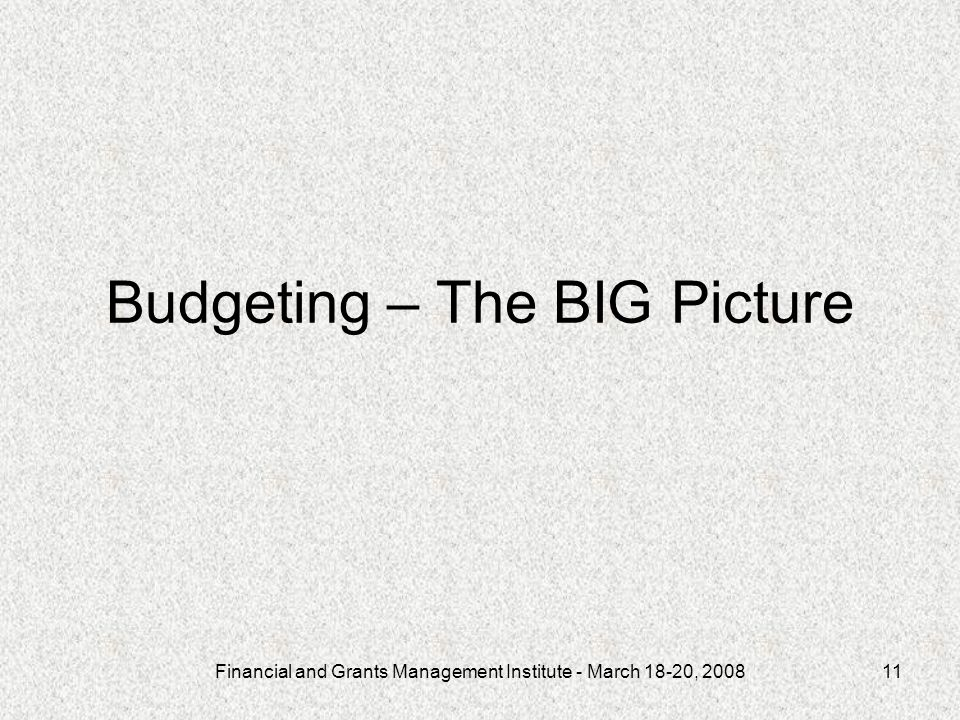 Financial and Grants Management Institute - March 18-20, 200811 Budgeting – The BIG Picture