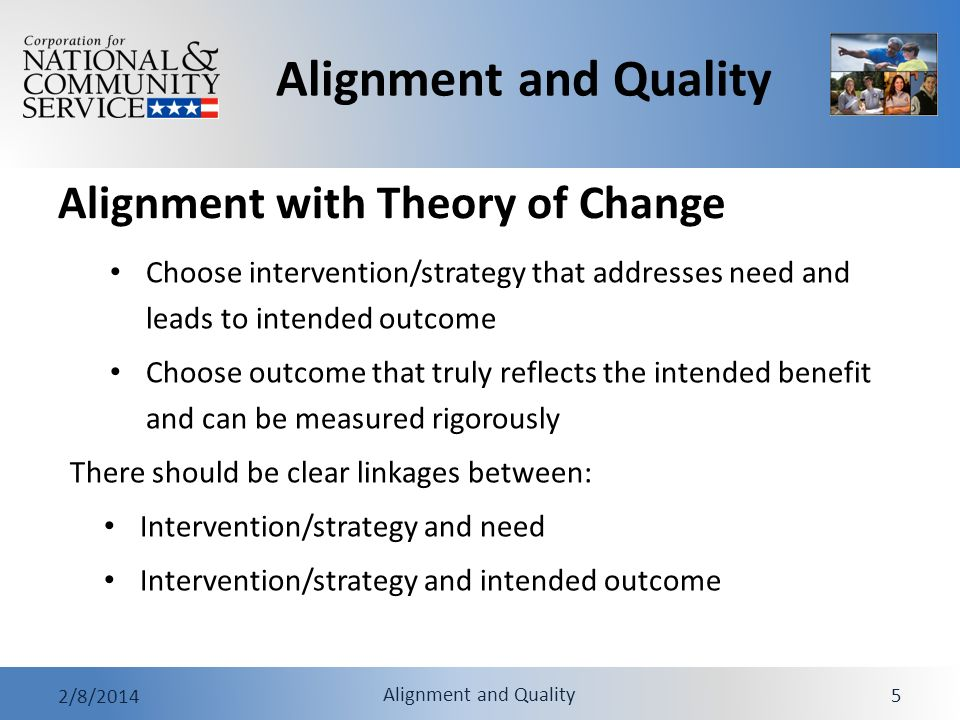 Alignment and Quality 2/8/2014 Alignment and Quality 26 Practice: Review Sample Performance Measures 1.Read the Veterans Reintegration Assistance narratives and performance measures.