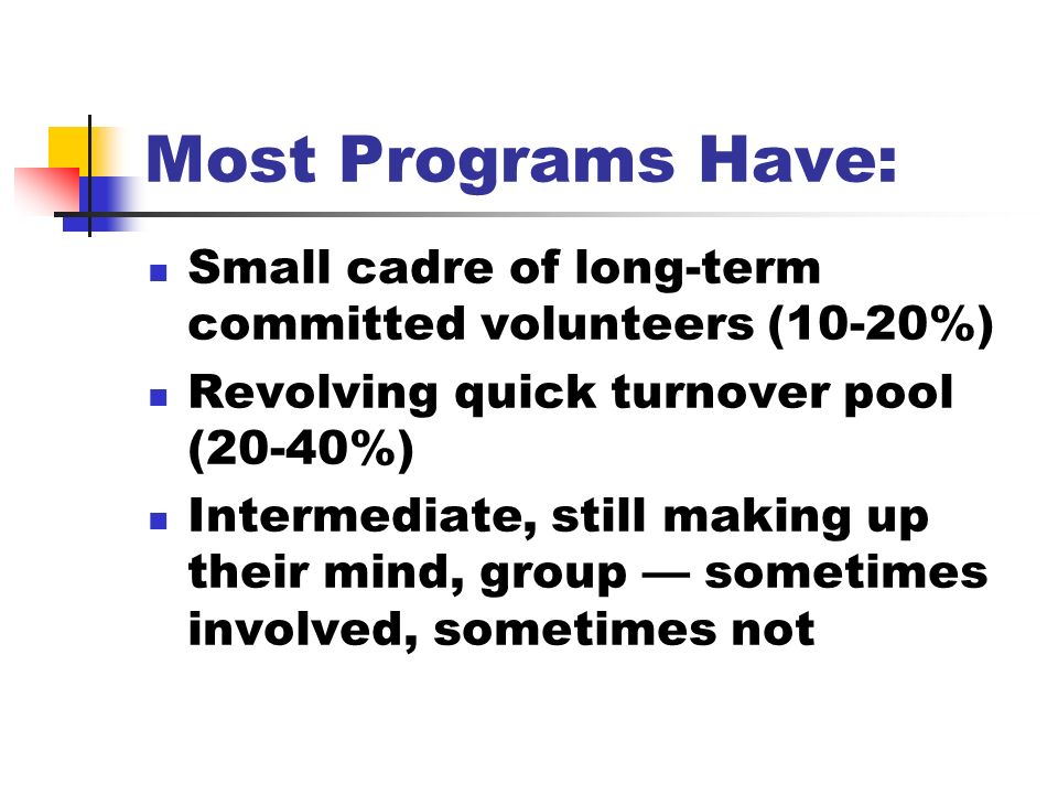 Most Programs Have: Small cadre of long-term committed volunteers (10-20%) Revolving quick turnover pool (20-40%) Intermediate, still making up their mind, group sometimes involved, sometimes not