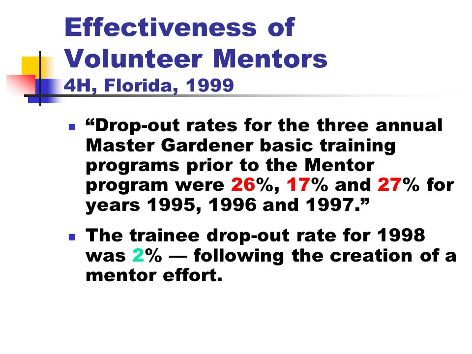 Effectiveness of Volunteer Mentors 4H, Florida, 1999 Drop-out rates for the three annual Master Gardener basic training programs prior to the Mentor program were 26%, 17% and 27% for years 1995, 1996 and 1997.