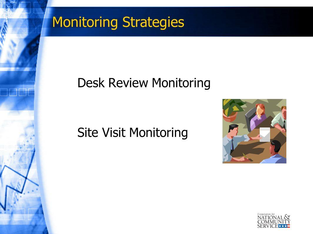 Monitoring Strategies Desk Review Monitoring Site Visit Monitoring