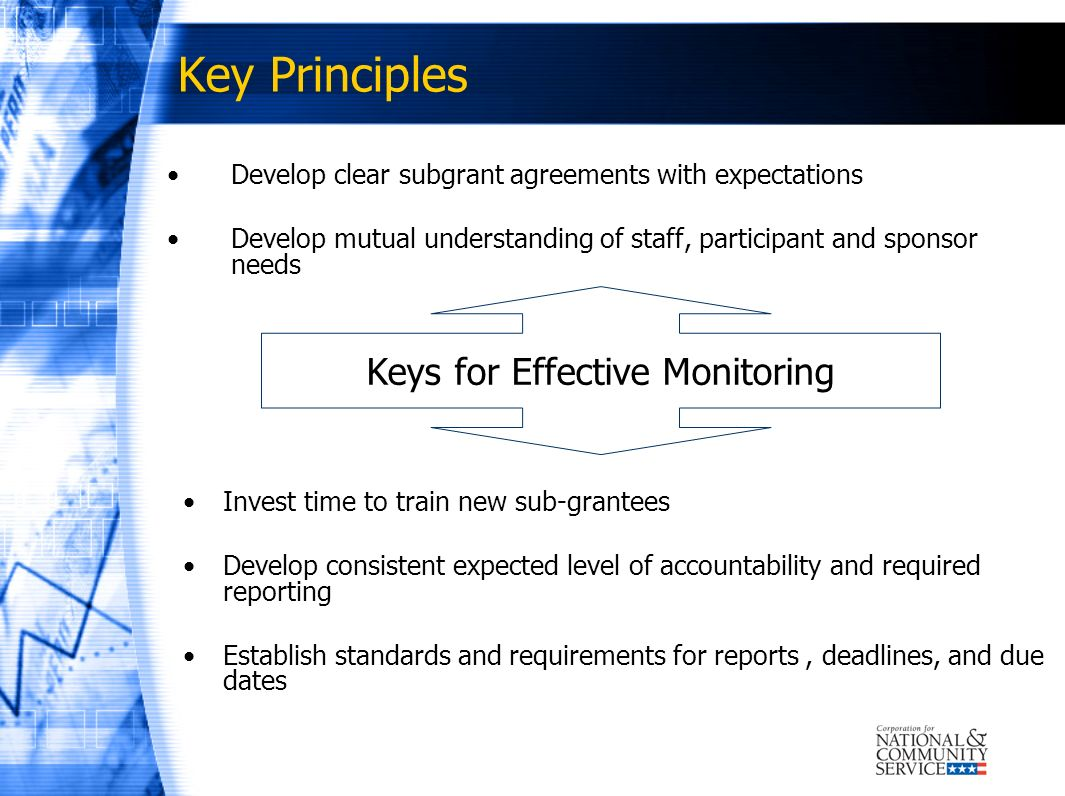 Key Principles (Continued) Communicate via onsite or telephone meetings Consistently and continually distribute & train on policy guidance, regulations Communicate monitoring expectations and level Encourage sharing best practices for effective management Keys for Effective Monitoring