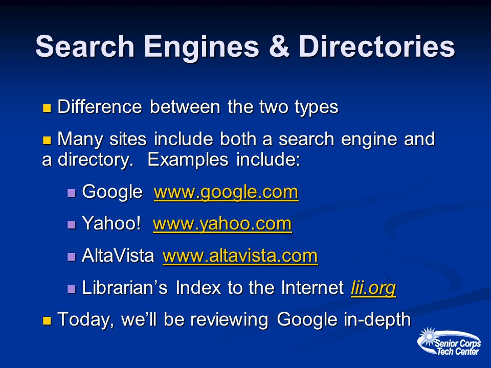 Search Engines & Directories Difference between the two types Difference between the two types Many sites include both a search engine and a directory.